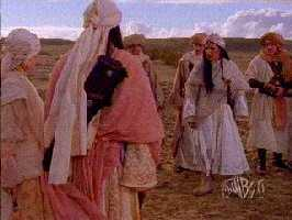 After shooting on Xena finished, Mel Gibson came in to film his Aramaic epic. You can spot him at far right.